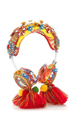 Crystal And Bead Embellished Headphones With Tassels by DOLCE & GABBANA Now Available on Moda Operandi