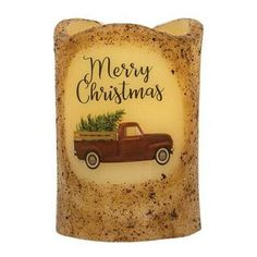 """New Primitive MERRY CHRISTMAS RED TRUCK WAX CANDLE Battery Operated Timer 4"""" #Unbranded Christmas Timer, Christmas Red Truck, Merry Christmas, Red Candles, Candle Lanterns, Pillar Candles, Discount Home Decor, Fox Decor, Green Theme"""