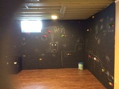 Rock climbing wall w/ chalk board paint in basement