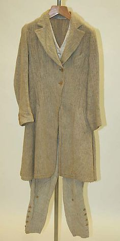 Riding Habit--Really nice view of the unlined, rather coarse, linen    Date:      1920s  Culture:      American  Medium:      linen--Met Museum