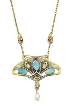 Turquoise, natural pearl, enamel and diamond pendant necklace, Gautrait, Circa 1900