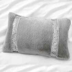 By Caprice Ingrid Sequin Band Faux Fur Filled Cushion, Silver, 30 x 50 Cm