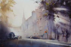 Ilya Ibryaev    - Morning in the city - watercolor - 53х35 cm