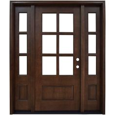 Savannah 6 Lite Stained Mahogany Wood Prehung Front Door With Sidelites,  Brown