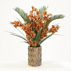 Distinctive Designs Cymbidium Orchids and Cycas Palm and Orchid Foliage in Zig Zag Vase Flower Color: Brown Fake Flower Centerpieces, Flower Vases, Flower Decorations, Flower Art, Flower Arrangements, Fake Flowers, Silk Flowers, Colorful Flowers, Beautiful Flowers
