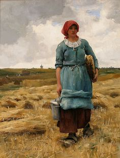 Femme portant a manger - Julien Dupré (French, 1851-1910)