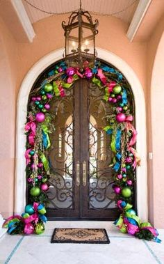 lime green, hot pink, sky blue, fuchsia ornaments door garland..used these colors for 2014