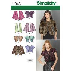 Misses' knit and woven jackets sewing pattern by Simplicity.
