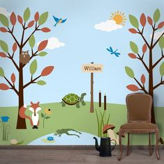 My Wonderful Walls Forest Theme Wall Stencil Kit for Forest Nursery Wall Decor >>> Discover this special deal, click the image : Nursery Decor Forest Theme Bedrooms, Stencils For Kids, Kids Wall Murals, Playroom Mural, Tree Murals, Stencil Painting On Walls, Cloud Stencil, Happy Paintings, Forest Friends