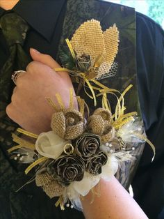 Camoflauge duct tape/burlap roses corsage Aimee and Johnny senior prom
