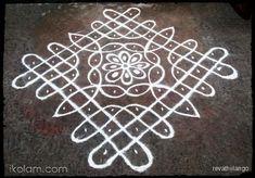 Rangoli Rev's chikku kolam 71. 10 dots 2 lines end with 2 dots. | www.iKolam.com