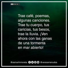 #esmarlinmoreta #versosmenudos #cafe #poema #musica #lluvia #frase
