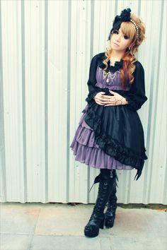 #gothic #lolita #purple #black #dress #boots