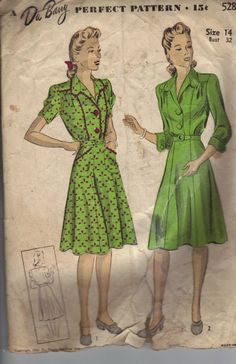 WANT the left dress!!   1942 Du Barry Sewing Pattern