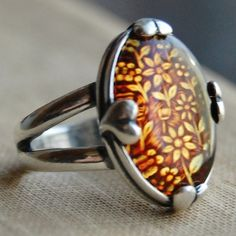I.Love.Amber.    Carved Amber and Sterling Silver Hearts   Ring  by lovestrucksoul, $65.00