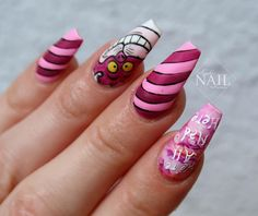 31 DAYS OF HALLOWEEN NAILS! Cheshire cat - Alice in wonderland nails comment below what you're being for halloween! Birthday Nail Designs, Birthday Nails, Birthday Design, Acrylic Nail Shapes, Acrylic Nails, Cat Nail Designs, Nails Design, Alice In Wonderland Nails, Halloween Alice In Wonderland