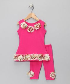 Take a look at this Hot Pink Rosette Tunic & Capri Pants - Toddler & Girls by Mia Belle Baby on #zulily today!