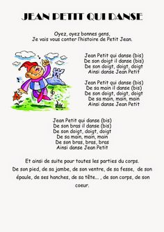 Ma petite maternelle: Comptine #33 - Jean Petit qui danse Teaching French, Teaching English, Jeans Petite, French Poems, Montessori, French Kids, French Education, French Classroom, Music Sing