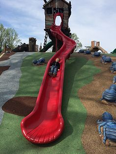 James Watts ona slide at Woodland Wonderland.
