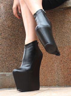 new concept 532d1 52caf Shoes Black Hidden Platform 8 or 10 inch Ankle Bootie Wedges