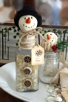 Snowmen, glass bottles, snowman head ornaments, ribbon, old buttons, fill with bath salts and display in bathroom