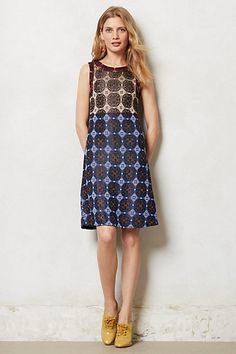 from anthropolgie.com  bold patterned sheath dress...boy inspired shoes
