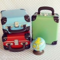 """Little Traveler Suitcases made of fiberboard...cool for packing lunches, goodie bags, or for gift packaging... 9.5"""" L x 8""""wx 5"""" h"""