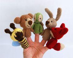 5 animal finger puppets crocheted bee bear fox bunny by crochAndi, $42.00