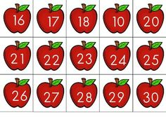 Perfect for math stations, calendar math, small group… Fall Preschool, Preschool Math, Math Classroom, Kindergarten Math, Teaching Math, Kindergarten Calendar, Apple Activities, Preschool Activities, Calendar Activities