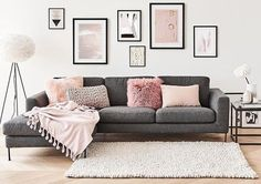 33 Pink and Gray Modern Living Room Decor Mid Century Modern Living Room decor Gray Living Modern pink Room Living Room Grey, Home Living Room, Apartment Living, Living Room Designs, Pink Living Rooms, Gallery Wall Living Room Couch, Living Room Decor Frames, Modern Living Rooms, Teen Lounge Rooms