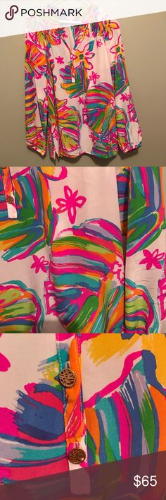 Elsa in Summer Haze Lilly Pulitzer 100% silk Elsa. Worn a few times by me and dry cleaned. I just don't wear it enough. A little wrinkled but good condition. Small pinpricks on the back of the left shoulder Lilly Pulitzer Tops Blouses