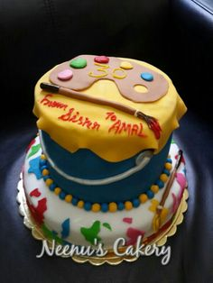 A paint bucket cake for a painter lady...