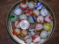 Lot #76 has 22 Vintage Marbles Miscellaneous Color & White Twenty-two Marbles