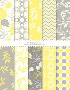 yellow and grey inspiration - wish I could find some of these as fabric patterns