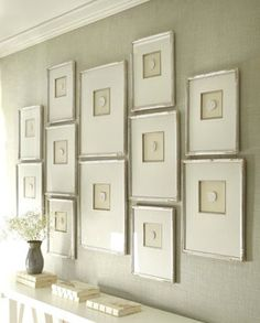 Framed Intaglios - Grecian-inspired intaglios of hand-poured plaster. Mounted on linen fabric and framed with ivory mat boards within silver...