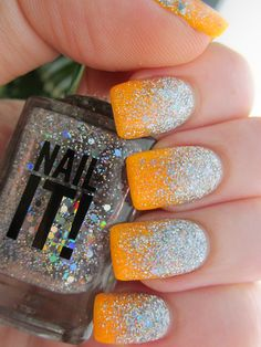 Glitter gradient with China Glaze Sun Worshipper, plus loose glitter and a variety of holographic glitter polishes.