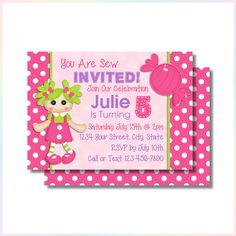 Personalized Printable Invitations | You're Sew Invited 3 | Birthday