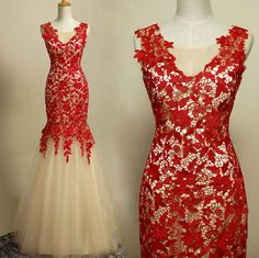 1f33b4a8c0ac Elegant Handmade Mermaid Red Lace Prom Gown 2016, Prom Gowns 2016, Red  Evening Gowns