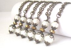 Rustic Pearl Necklace Ivory Pearl Jewellery by UrbanDaisyBridal, £10.50