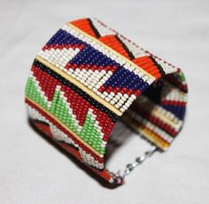 AFRICAN+MAASAI+MASAI+BEADED+TRADITIONAL+ETHNIC+TRIBAL+WIRE+BRACELET+-+KENYA+#07+#Unbranded