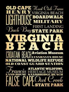 Virginia Beach Virginia Typography Art Poster / by LegacyHouseArt