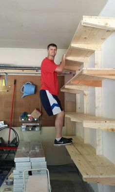Budget ideas and garage organization hacks. These garage organization hacks will. Budget ideas and garage organization hacks. These garage organization hacks will simplify your life Garage Shelving, Garage Shelf, Building Shelves In Garage, Basement Storage Shelves, Lumber Storage Rack, Garage Cabinets, Wall Storage, Wooden Garage Shelves, Workshop Shelving
