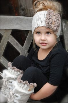 How cute is she!!!! Rainya Boot Cuff/Warmer Set Pattern @ DIY Home Ideas