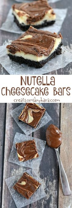 This creamy and delicious Nutella Cheesecake Bars are a cinch to make. And they taste fantastic! Strawberry Cheesecake Bites, Nutella Cheesecake, Cheesecake Bars, Cobbler, Pumpkin French Toast, Dessert Aux Fruits, Baked Strawberries, Dark Chocolate Cakes, Nutella Recipes