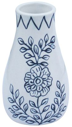 Bulk Wholesale Handmade 6.5u201d Ceramic Flower Vase In Blue U0026 White Colors  With Hand Painted Traditional Look Floral Motifs U2013 Ethnic Look Home Décor Fu2026