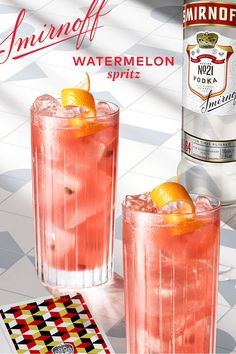 We have a winning hand. Well, we have a win in our hand. A cocktail. We have a cocktail in our hand  Smirnoff Watermelon Spritz Recipe: 1.5 oz Smirnoff No. 21 Vodka, 5 oz Soda, 4 Chunks of Watermelon, Ice. Place 4 chunks of watermelon into a glass and muddle or smash carefully. Fill the glass with ice. Pour in Smirnoff and top off with soda.  Smoothies, Smoothie Drinks, Liquor Drinks, Non Alcoholic Drinks, Cocktails, Cocktail Drinks, Spritz Recipe, Alcohol Drink Recipes, Smirnoff