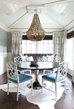 Metal dining table.