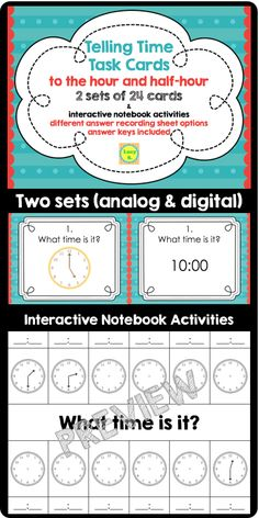 $ 48 task cards + interactive notebooks printables: to the hour & half-hour