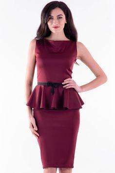 Rochie Roxana Marsala – Karla.Club Marsala, Peplum Dress, Club, Dresses, Fashion, Marsala Wine, Gowns, Moda, La Mode
