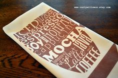 Tea Towel  linen cotton canvas mocha coffee brown by curlywillowco, $20.00